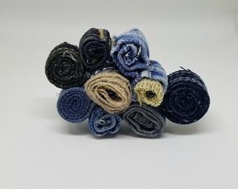 Flower Pin, Jeans Flower Brooch, Fabric Flower Pin