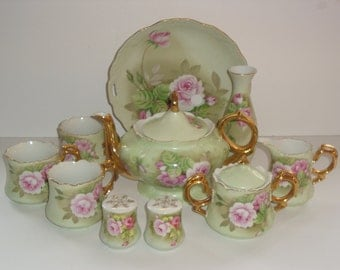 Vintage Lefton Green with Pink Roses Luncheon Set / Service #05852 - Made in Japan