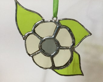 Upcycled vintage 1970s stained glass flower suncatcher in cream