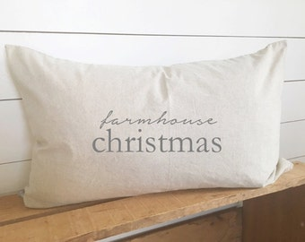 Farmhouse Christmas Pillow Cover 16 x 26 // Christmas / Holiday / Christmas Pillow / Accent Pillow / Throw Pillow / Gift