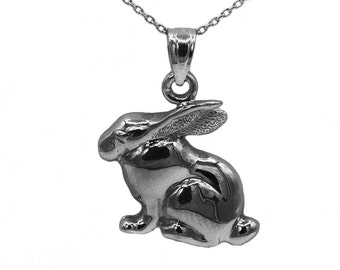 925 Black Sterling Silver Rabbit Necklace