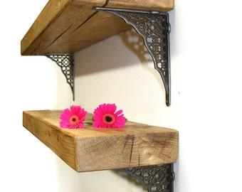 Rustic wood Chunky 7cm Shelf Shelves Cast Iron Metal Brackets