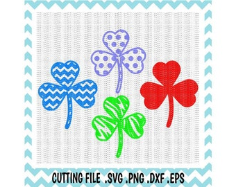 Heart Clover, St. Patricks Day SVG- Dxf- Png- Eps, Cut Files For Silhouette Cameo/ Cricut, Design Space Compatible, Svg Download.