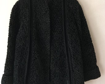 Festive Look Short Vintage Black Genuine Soft Astrakhan Fur Coat Warm Collar Women's Medium.