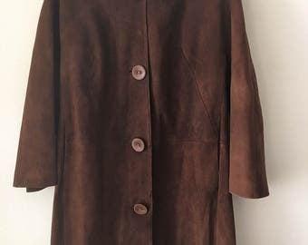 Brown suede long coat women size medium .