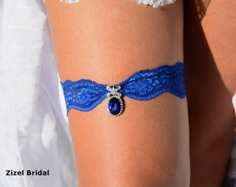 Blue Garter, Wedding Garters, Blue Garter Set, Blue Lace Garter, Bridal Garter, Wedding Garter Set, Rhinestone Garters, Something Blue, Gift