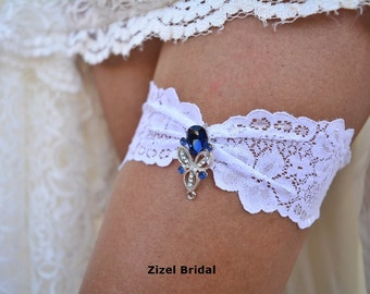 Blue Wedding Garter, Rhinestone Garter,  Lace Garte Set, Bridal Garter, Blue Bridal Garter, Royal Blue Garter, Somethig Blue, Wedding Garter