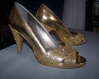 Metallic gold glitter heels, Size 6.5