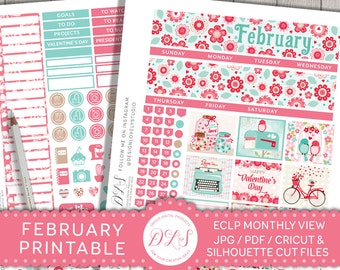 February Monthly Kit for Erin Condren, February Stickers, February Planner Stickers, Monthly View Stickers, Valentines Planner,  MV119
