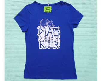"T-shirt ""hard of roer"" blue"