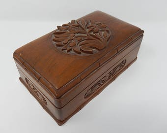 Old Chest, Carved Oak Box, Free Shipping