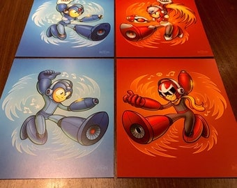 "Megaman Art Prints 8"" x 10"" - Air Guitar Rockman Protoman X Zero videogame retrogaming gamer pop geek art"