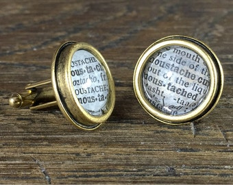 Repurposed Dictionary Page Cuff Links-Mustache