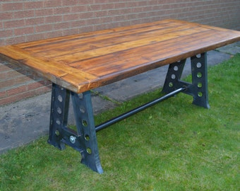 Large Industrial Reclaimed Rustic Farmhouse Loft Style Dining Table