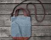 Waxed canvas veg tan leather shoulder bag