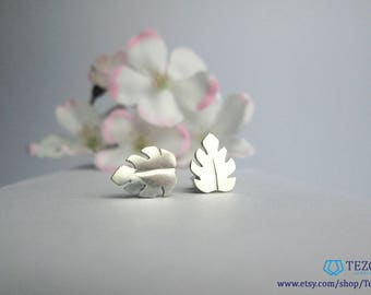 palm leaf earrings, stud sterling silver earrings, monastera earrings