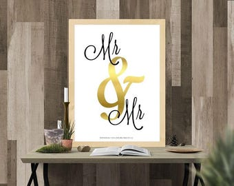 Modern Mr & Mr White, Black and Gold Gay Wedding/Gift/Home Decor/A4 Printable Gift/Husband and Husband
