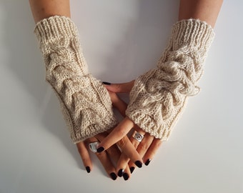 Wool wrist arm warmers, gift for girlfriend, fall fashion gloves, fingerless wool gloves mittens, knit hand warmers, winter knitted gloves