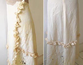 Antique Edwardian Victorian silk dress section and cuffs ivory cream Pattern, for study