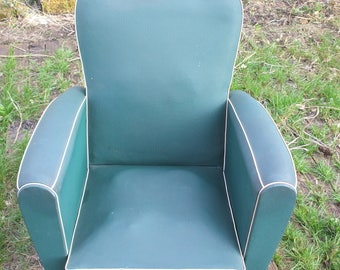 "Club ""moustache"" green vinyl Chair, 50s/60s"