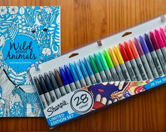 SALE!! Wild about Animals, Adult Colouring Book, A4 with a set of 28 Sharpies
