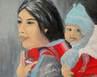 Print of oil painting: Mother with child