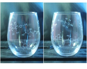 Science Wine Glass - Chemical Glass - White Wine Glass - Chemical Compound - Gift Ideas - Gifts for Her - Gifts for Him
