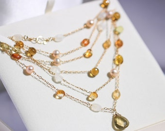 Gemstone Long Necklace, Long Layering Necklace Citrine Necklace Lemon Quartz Necklace Yellow Necklace Gemstone Necklace Two Layers Necklace