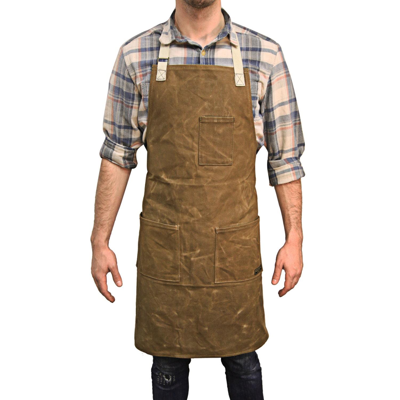 Plain white kitchen apron - Readywares Waxed Canvas Utility Apron Tan