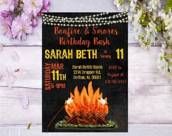 bonfire birthday invitation birthday invite backyard bonfire party birthday party invite camping invitation birthday tween teen Smores