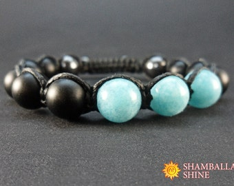 Black blue bracelet Natural aquamarine beads Sky blue gemstone Healing energy jewelry Black men bracelet Woven stone jewelry Black shamballa