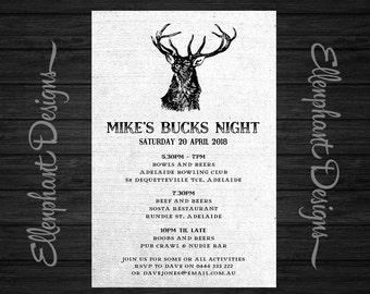 Stag bucks night invitation, bachelor party invitation, stag night, invite, custom invite, digital file, printable, you print