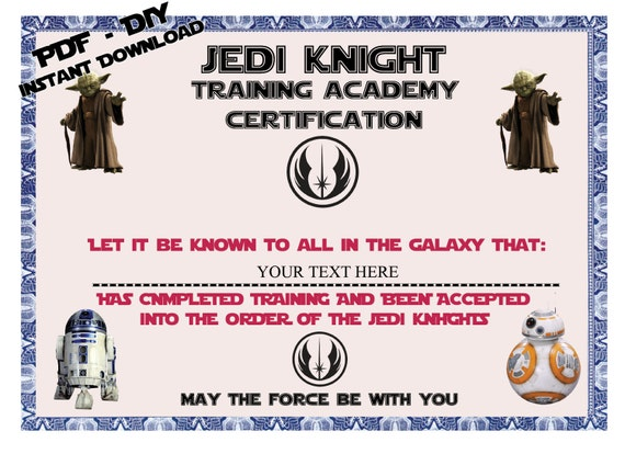 Instant dl personalized jedi knight certificate star for Star wars jedi certificate template free