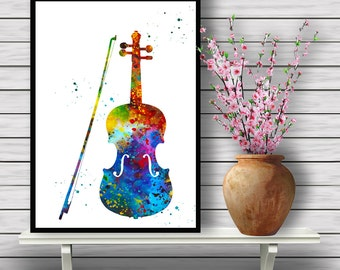 Colorful Violin, Watercolor Instrument Wall Hanging, Music Home Decoration, gift, Instant Download (391)