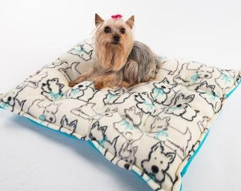 Yorkie Dog Bed, Yorkie bed, Yorkie print bed, Yorkshire Terrior dog bed