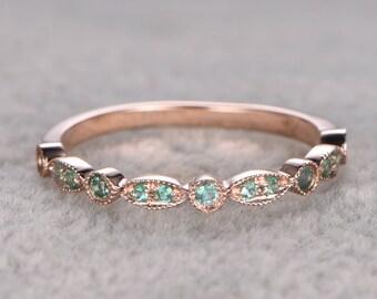 Natural Emerald,Half Eternity Wedding Ring,14K Rose gold,Anniversary Ring,Art deco Marquise style,stacking,milgrain,Emerald wedding band