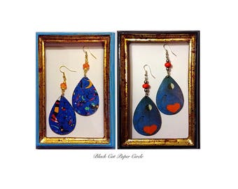 Miro-In the night; The dancers pendant earrings handcrafted wooden handmade decoupage art