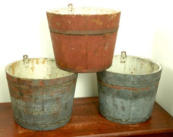 Wooden Painted Maple Syrup Sap Buckets from USA