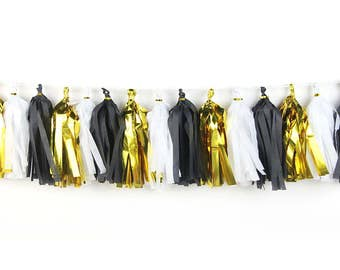 Gold + Black + White | Tassel Garland | Metallic Tissue Tassel Garland | Halloween Decoration | Halloween Garland | Halloween Banner