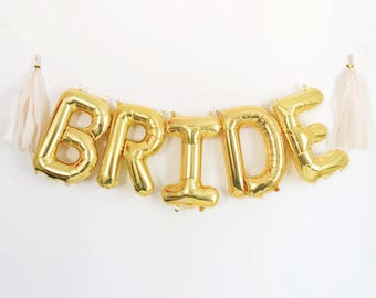 "BRIDE Letter Balloons | 16"" Gold Letter Balloons 
