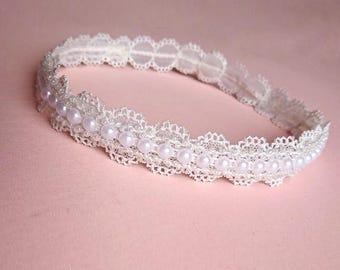 Baby headband, christening headband, pearl headband, baptism headband, pearl and lace headband