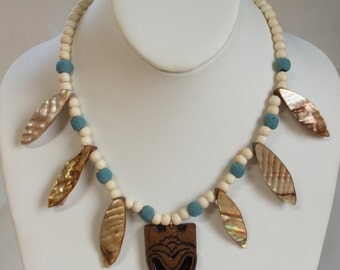 Tiki Necklace with lucite TIKI pendant