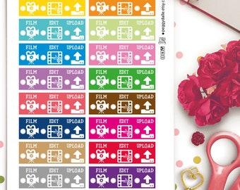 Vlog Checklist Planner Stickers |  Bloggig Stickers | Youtube Stickers | Recording Stickers  | Editing Stickers