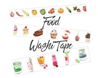 Food Themed Washi Tape | Vegetables, Baked Goods, or Drinks