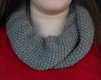 Seed Stitch Cowl // Knit Cowl // Gray Handknit Infinity Scarf