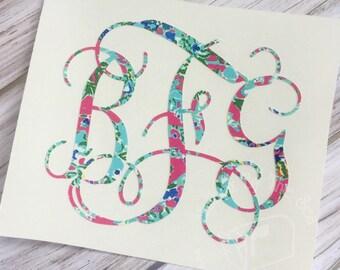 Lilly Pulitzer Inspired Vine Monogram Decal | Yeti Decal | Lilly Car Decal |  Lilly Monogram Decal | Lilly Sticker | Car Decal | Preppy