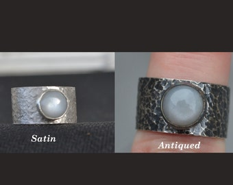 Sterling Silver Men's Ring with Grey Moonstone Cabochon