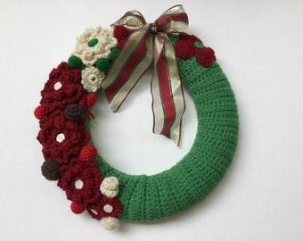 Christmas wreath, door wreath, Xmas wreath,door decoration, Christmas wreath, floral wreath,hand made crochet wreath, door decor