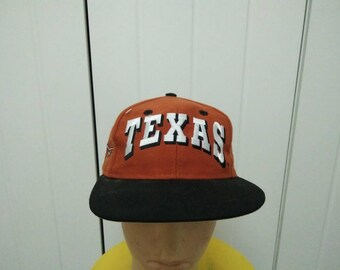 Rare Vintage TEXAS HORN Big Logo Embroidered Spell Out Cap Hat Free size fit all