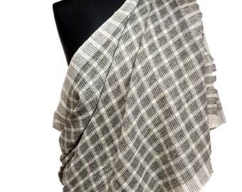 Black and white checks handmade 100% Wool Stole